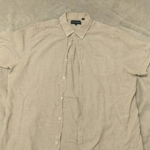 Tan linen short sleeve button down